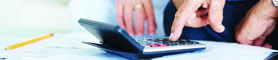 Couple on calculator